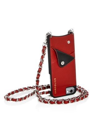 BANDOLIER Lucy Leather Iphone Crossbody in Crimson/Silver