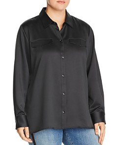 Lyssé Plus - Brinkley Satin Button-Down Top