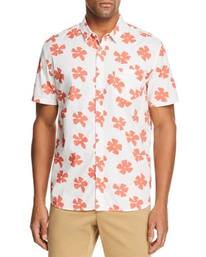 BANKS Dady Floral-Print Short-Sleeve Regular Fit Shirt in Off White