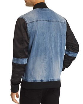 True Religion - Faded Mixed-Media Bomber Jacket
