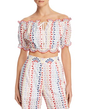 Red Carter - Scalloped Eyelet Cropped Top