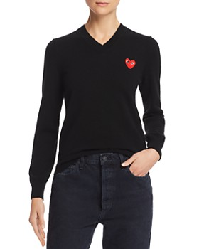 Comme Des Garcons PLAY - Embroidered Logo Wool Sweater