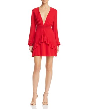 SAGE THE LABEL Sage The Label La Bamba Ruffled Polka Dot Dress in Red