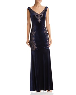 BCBGMAXAZRIA - Lace-Inset Velvet Gown