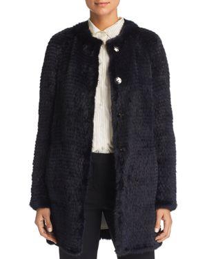 MAXIMILIAN FURS Reversible Mink & Rabbit Fur Coat - 100% Exclusive in Navy/Navy