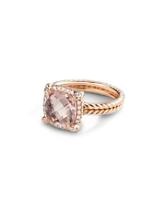 David Yurman - Chatelaine Pavé Bezel Ring in 18K Rose Gold with Morganite