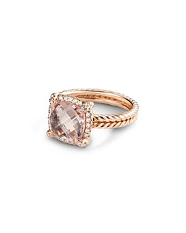 David Yurman - Châtelaine®  Pavé Bezel Ring in 18K Rose Gold with Morganite