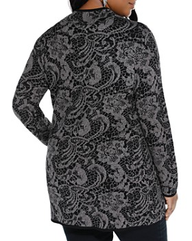 Belldini Plus - Metallic Lace Print Zip Cardigan
