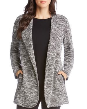 Open-Front Jacket With Faux-Leather Trim in Black/Cream