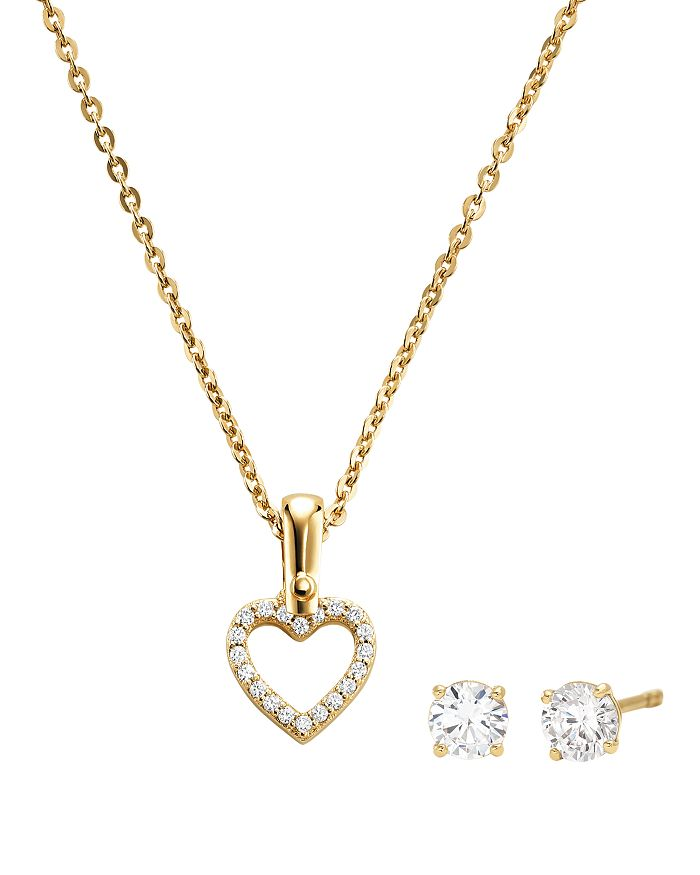432a58462981 Michael Kors - Heart Pendant Necklace   Stud Earrings in 14K Gold-Plated  Sterling Silver