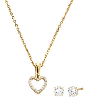 Heart Pendant Necklace & Stud Earrings In 14K Gold-Plated Sterling Silver, 14K Rose Gold-Plated Ster