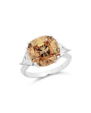 CRISLU Champagne Cocktail Ring In Platinum-Plated Sterling Silver in Orange/Silver