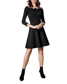 KAREN MILLEN - Lace-Trim Off-the-Shoulder Dress