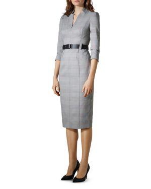KAREN MILLEN Puff-Sleeve Glen Plaid Sheath Dress in Black Multi