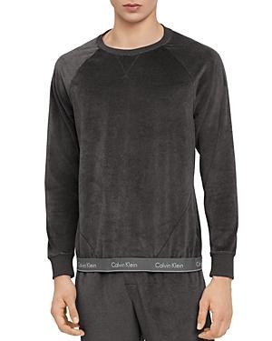 Calvin Klein Logo-Hem Velour Sweatshirt