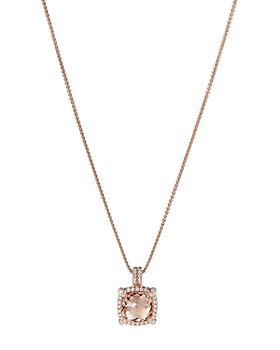 "David Yurman - Châtelaine®  Pavé Bezel Pendant Necklace in 18K Rose Gold with Morganite, 18"""