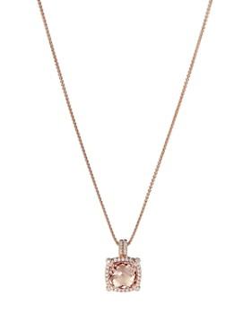 "David Yurman - Chatelaine Pavé Bezel Pendant Necklace in 18K Rose Gold with Morganite, 18"""