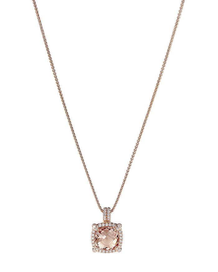 David Yurman - Châtelaine®  Pavé Bezel Pendant Necklace in 18K Rose Gold with Morganite, 18""