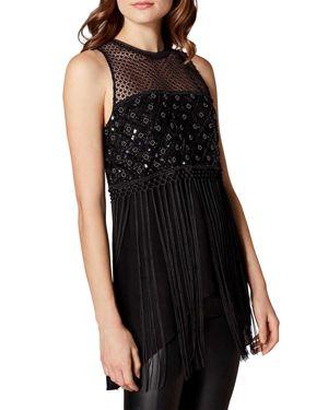 KAREN MILLEN Embellished Fringed Top in Black