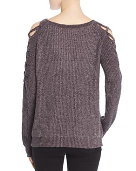 Elan - Chenille Lace-Up-Sleeve Sweater