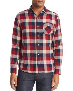 FLAG & ANTHEM Glenshaw Plaid Regular Fit Shirt in White/Red/Navy Box Plaid