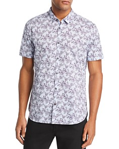 John Varvatos Star USA - Floral-Print Short-Sleeve Regular Fit Shirt