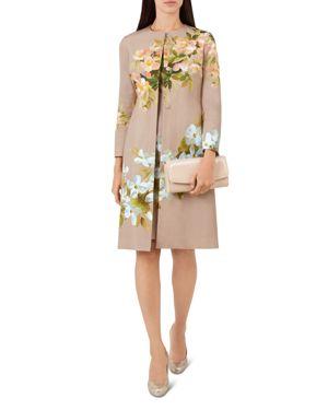 Francine Floral Coat in Oyster Multi