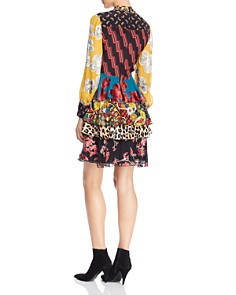 Alice and Olivia - Dasha Mixed-Printed Tie-Neck Tiered Dress