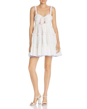 RED CARTER Harper Tie-Front Ruffle Coverup Dress in Ivory