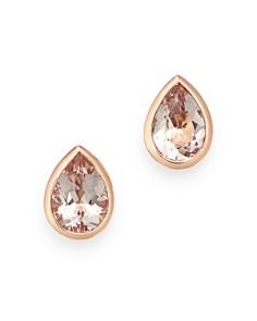Bloomingdale's - Morganite Pear Shaped Bezel Set Stud Earrings in 14K Rose Gold - 100% Exclusive