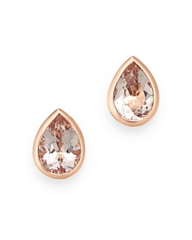 Bloomingdale's - Morganite Pear Shaped Bezel Set Stud Earrings in 14K Rose Gold - 100% Exclusive