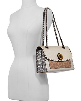 ... COACH - Parker Mixed Media Studded Shoulder Bag 3b7b9ad875