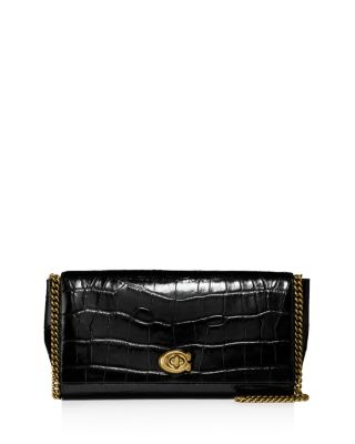 Croc Embossed Leather Turn Lock Clutch by Coach