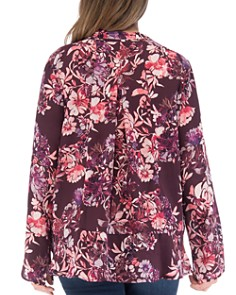 B Collection by Bobeau Curvy - Samara Floral Tie Neck Top