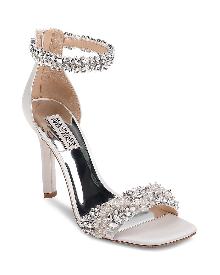Badgley Mischka - Women's Fiorenza Faux Pearl & Crystal Embellished High-Heel Sandals