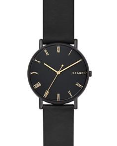 Skagen - Signatur Black Leather Strap Watch, 40mm