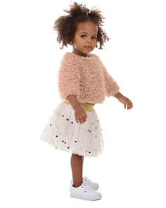 Pippa & Julie - Girls' Faux-Fur Sweater & Polka-Dot Tutu Skirt Set - Baby