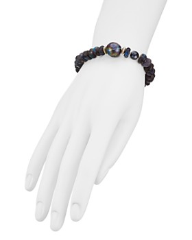 Chan Luu - Beaded Stone & Cultured Freshwater Pearl Toggle Bracelet in 18K Gold-Plated Sterling Silver & Sterling Silver
