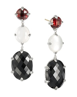 David Yurman - Châtelaine®  Drop Earrings with Black Onyx, Milky Quartz over Mother-of-Pearl & Garnet