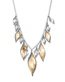 """JOHN HARDY - 18K Yellow Gold & Sterling Silver Classic Chain Wave Hammered Drop Necklace, 18"""""""