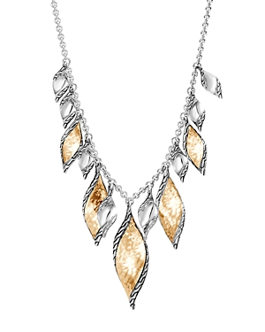 John Hardy 18K Yellow Gold & Sterling Silver Classic Chain Wave Hammered Drop Necklace, 18