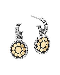 JOHN HARDY - 18K Yellow Gold & Sterling Silver Small Dot Round Drop Earrings