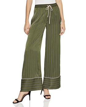 Bcbgmaxazria Striped Satin Wide Leg Pants