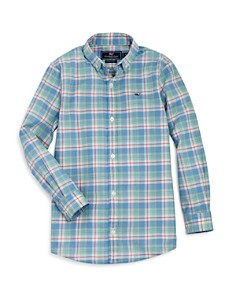 Vineyard Vines - Boys' Atlantic Coast Tartan Whale Shirt - Little Kid, Big Kid