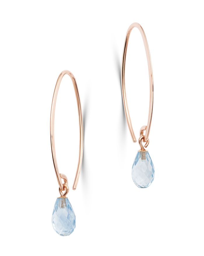 Bloomingdale's Aquamarine Briolette Threader Earrings in 14K Rose Gold - 100% Exclusive  | Bloomingdale's