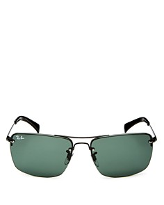 Ray-Ban - Men's Bow Bar Semi-Rimless Square Sunglasses, 63mm