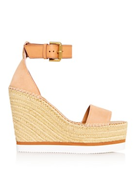 b2f9eed5ac1a4f ... See by Chloé - Women s Glyn Leather Espadrille Platform Wedge Ankle  Strap Sandals