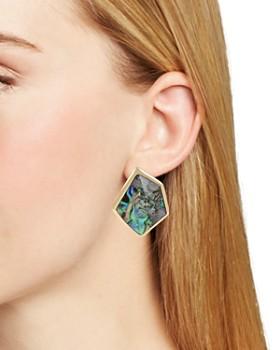 Robert Lee Morris Soho - Geometric Abalone Stone Clip-On Earrings
