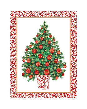 Caspari - Decorated Tree Holiday Cards, Box of 16