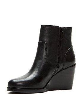 Frye - Women's Emma Short Wedge Heel Leather Booties
